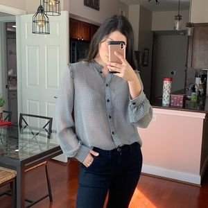 Who What Wear black and white ruffle blouse